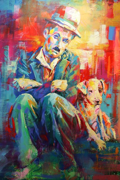 Charlie Chaplin and the dog