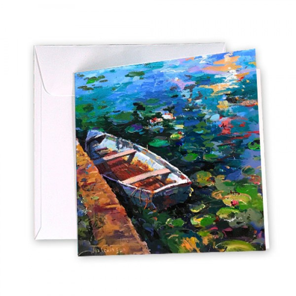 Boat and Waterlilies Card